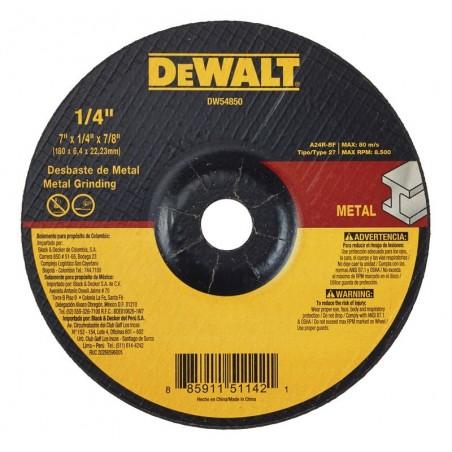 "DISCO ABRASIVO DESBASTE T27 7"" X 1/4"" DEWALT DW54850"