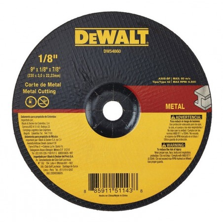 DISCO ABRASIVO 9PUL X 1/8 X 7/8 DEWALT DW54860