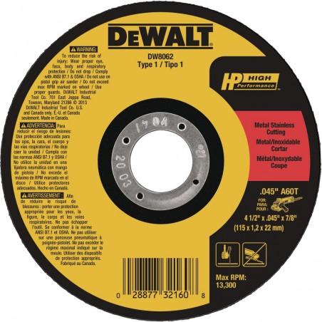 DISCO FINO 4.1/2 X 0.045 X 7/8 PULG DW8062 DEWALT